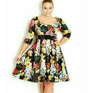 City Chic plus size small floral midi dress